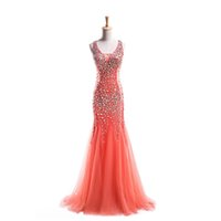 Wholesale Dropshipping Evening Dress - New Women Dress Party Elegant 2016 Scoop Neck Crystal Tulle Mermaid Evening Dress Sweep Train Dropshipping
