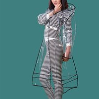 Wholesale Transparent Trench Coat - Fashion Rainwear Rainbow transparent EVA long women raincoat, rain coat poncho women vinyl waterproof travel trench chubasq