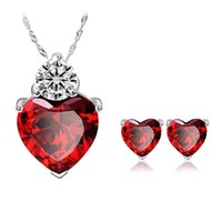 Wholesale Zircon Suits - Wholesale Platinum sincere heart garnet red zircon crystal necklace earrings suit foreign trade of high-end fashion jewelry