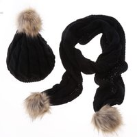 Wholesale Thick Knit Scarf Sets - Wholesale-2015 New Arrival Adult Faux Fashion Solid New Women Hat Set Faux Ski Scarf Knitted Cap Thick 5 Colors Free Shipping 12