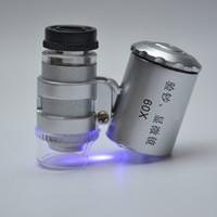 Wholesale Mini Led Microscope - Mini Microscope Pocket 60x Magnifier Handheld Jeweler LED Lamp Light Loupe - X60