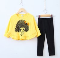 Wholesale Bat Sleeve Girls Shirt - Spring autumn children clothes girl lovely long sleeve bat-like shirt suit top+pants 2 pieces 100% cotton for 2~7Y kids