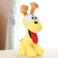 Gros-Hotest bricolage 38cm Cartoon Garfield animaux Jouets Jaune Thick-tongued Odie Dog Doll Loisirs Jouets Valentines anniversaire TY284 cadeau