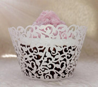 Wholesale Laser Cut Lace Paper - Lace Laser Cut Cup cake Wrapper Liner Baking Cup Muffin cup Laser cutting Coconut palm Cupcake Wrapper Baking Papers Cups