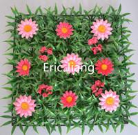 ingrosso tappeti erbosi artificiali-Confezione da 50 tappetini di erba sintetica intera in vendita con tappeto da bosso di fiori rosa margherita