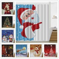 Wholesale Winter Curtain - Winter Holiday Merry Christmas Happy Shower Curtain New Waterproof Polyester Fabric Bath Curtain Funny Festival Style 165*180cm c302
