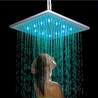 "Wholesale Shower Ceiling Mount - Bathroom 10"" Large Ceiling Light 250*250 mm Colorful LED Shower Head Shiny Finish Rainfall Super Shower Head"