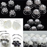Wholesale Spin Pin Hair Clips - 30pcs Lot Wedding Bridal Flaxen Hair Braided Hair Pearl Crystal Flower Hair Twists Spins Pin White Rose Hair Clip For Women