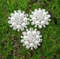 Wholesale Metal Embellishment Free Shipping - STOCK!Free Shipping!50pcs lot (LO-011 25MM)metal rhinestone button with pearl flower cluster hair flower wedding embellishment