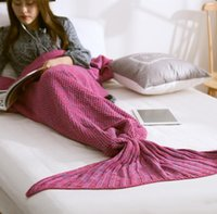 Wholesale One piece Mermaid Tail Blanket Knitted and Adult baby Little Mermaid Blanket Knit Cashmere TV Sofa Blanket