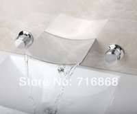 Wholesale Waterfall Bathtub Faucet Two Handle - Wall Mounted Square Curved Waterfall Spout Two Handles Bathtub Faucet Bathroom Chrome Mixer Tap 3 Pieces Set DS-19E 1