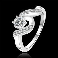 i̇sviçre elmas yüzüğü 925 toptan satış-Yüksek kalite 925 ayar gümüş İsviçre CZ Elmas Düğün / Nişan Yüzüğü Moda Takı Düşük Fiyat Ücretsiz kargo