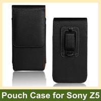 dikey kese klipsi toptan satış-Toptan Zarif Kemer Klipsi PU Deri Dikey Çevir Kapak Kılıf Sony Xperia Z5 için / M5 Drop Shipping