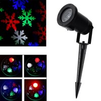 ingrosso paesaggistica interna-Moving Snowflake Spotlight Indoor / Outdoor LED Landscape Proiettore Light Snowflake Sposta automaticamente RGB Color Snow Laser Prato Light Party