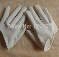 Wholesale Sexy Short Leather Gloves - Wholesale-2015 women's fashion gloves half palm sexy gloves short design PU leather motorcycle driving gloves white color