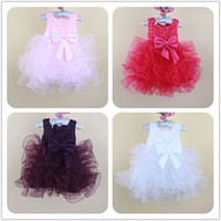 Wholesale Toddler Big Tutu - Little Baby Girls Tulle Lace Wedding Party Dresses Toddler Kids Girls TuTu Princess Dress 2016 Babies Big Bow Fashion Dress 1-6years