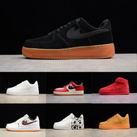 Wholesale Outdoor 11 - 2018 new forces Classical All White black low high cut men women Sports sneakers Running Shoes Forcing one skate Shoes US 5.5-11