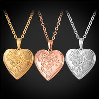 Wholesale locket necklaces for sale - U7 Floating Locket Flower Heart Pendant Necklace K Real Gold Platinum Plated Fashion Jewelry Gift For Love Romantic Rose Accessories