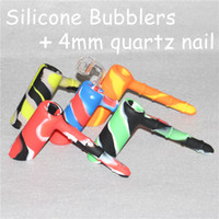 Wholesale Curing Silicone - Platinum Cured Food Grade Silicone Hammer Bubbler Pipe Smoking Pipes Silicone Bong Dab Rig with 4mm thickness 18.8mm male quartz nail