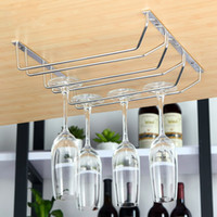 Double row Home Detentor de óculos de vinho decorativo Pendurado Upside Down Cup Goblets Display Rack Home Bar Stainless Steel Wine Stand
