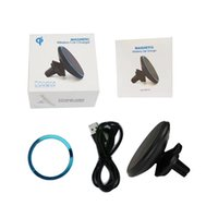Wholesale Iphone Car Vent Cradle - Magnetic QI Wireless Car Charger Mount Cell Phone Air Vent Magnet Car Cradle Charging Holder for iPhone 8 8 Plus X Samsung S8