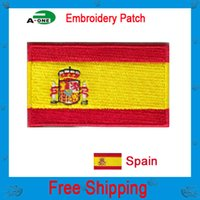 Wholesale Wholesale Bikers Accessories - spain flag patch Fashion New Biker Embroidered Patch Iron Patch Emblem Sew On Clothing Patch Free Shipping