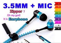 fermuar kulaklık ses toptan satış-Fermuar Stereo 3.5mm Jack Bas metal Kulakiçi Kulaklık kulaklık kulak Metal Mic ve Ses ile iPhone 6 5 s Samsung için