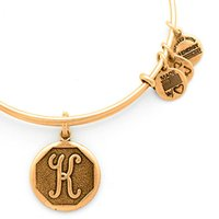 Wholesale Men K Gold Bracelets - Initials K Original alex and ani Charm bangle Antique gold or silver Expandable Wire copper man and women bracelet Christmas gifts