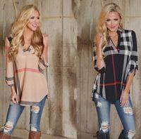cross blouses оптовых-мода женская блузка плед печатных s-3XL крест блузки