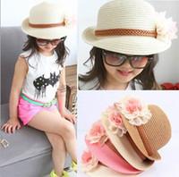 Wholesale Girls Sunhats - 2015 New Design Girl Sunhats Grass Braid Chiffon Flower Summer Fashion Beach Hats 1873