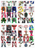 Wholesale Diamond Charms Wholesale - Mixed 48 Design Pendant Scarf Jewelry Women Necklace Scarf Fashion Style Beads Tassel Soft Scarf, Free Shipping