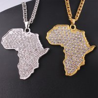 Wholesale Cross Maps - Gold&Silver long necklace High quality Crystal Map of Africa pendant necklace Hip Hop Style Accessories For women&men