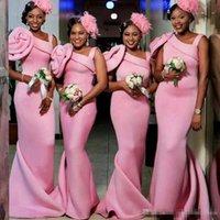 um vestido de casamento varredura de ombro venda por atacado-Sexy Africano Rosa Sereia Longo Dama de Honra Vestidos de Um Ombro Flores Feitas Sob Encomenda Do Casamento Do Convidado Do Vestido Da Varredura Do Vestido de Casamento Do Convidado Do Partido Vestidos