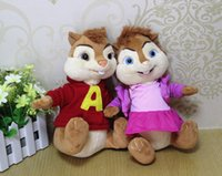 Wholesale Alvin Chipmunks Christmas - Wholesale-Free shipping 2pcs lot 26cm Original Alvin and the Chipmunks - Alvin and Brittany Soft Doll 26cm Plush Toys,new Christmas gift