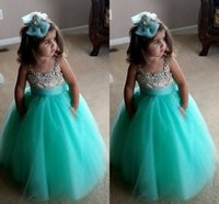 Wholesale Turquoise Girls Dress - Cute Turquoise Green Flowe Girls Dresses Spaghetti Straps Crystal Beaded Tulle Ball Gown Toddler Infaint Pageant Dresses For Girls