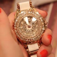 vestido de novia caja de barco al por mayor-¡¡Edición limitada!! Royal Luxury reloj de cerámica de Alta calidad Diamante Ladies Quartz relojes Gold Dress Wedding Gift Box Envío gratis