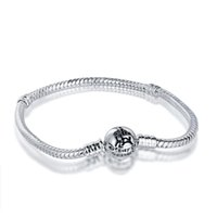 Wholesale Sterling Silver Bead Strands - Wholesale New Arrival Charm Bangle 925 Sterling Silver Bracelet Fit European Charms Beads DS17-19CM Length Fashion DIY Jewelry