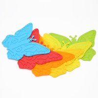 Wholesale coaster mats resale online - Butterfly Shape Table Mat Lovely High Temperature Resistant Silicone Bowl Coaster Cartoon Colorful Cup Placemat Hot Sale zy B