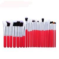 Wholesale Red Angle Eyes - 3 Color 25pcs Brand Makeup Brush Set Angled Powder Blush Make Up Brushes Eye Shadow Flat Eyebrow Cosmetic Pinceis De Maquiagem
