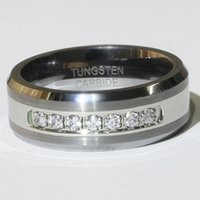 Wholesale Tungsten Rings Real Diamonds - FG CPP High Quality Real 857 Tungsten His&Hers 0.21ct NSCD Synthetic Diamond 8mm Wedding Band Ring,Tungsten Ring