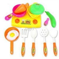 Presentes de Natal 2016 Popular New Plastic Toy Crianças Kid Kitchen Panelas Food Jogar Colher Pan Pot Kitchen Toy Set
