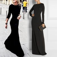 Wholesale More Dresses Evening - Less is more simple black evening dress with jewel neck Long sleeves sexy backless sheath jersey elastic prom party wear gowns for women