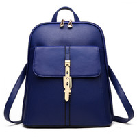 Wholesale Ladies Leisure Backpacks Brown - 2016 Fashion Lady Women PU Leather Shoulder handbag Tote Hobo Purse Leisure Double shoulder Backpack Style 9 color Schoolbag KLY8856