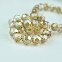 Wholesale Champagne Faceted Crystal Jewelry - 70pcs 8mm Gold Champagne Color Round Ball Faceted Crystal Loose Spacer DIY Beads Crystal Glass Jewelry Beads DIY
