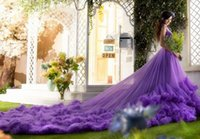 Wholesale One Shoulder Cathedral Train - Colorful Lace Cathedral Wedding Dresses for Women 2016 One Shoulder Purple Ruffled Tulle Beaded Corset Bridal Gowns with Lace up Custom Made