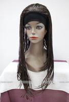 Wholesale Long Men Hair Wig - free shipping beautiful charming hot NEW Dark Brown Long unique Man-made braids 3 4 half wig with headband