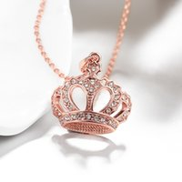 Wholesale Golden Crown Necklace - Crown elegant pendants charm Necklaces rose golden n006 Christmas Halloween 2016 New Jewelry