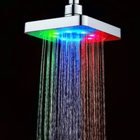 Wholesale Bathrooms Contemporary - Hot sale bathroom 150mm 6 inch Square Water Flow Adjustable Romantic Automatic LED Shower Head for Bathroom
