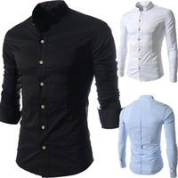 Wholesale Mandarin Slim Fit - 2014 New Men brand casual shirt Long Sleeve man Cotton Mandarin Collar Autumn Casual Outwear camisa social slim fit dress shirts