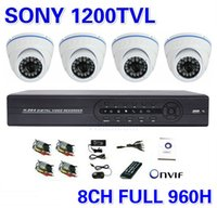 Wholesale Ip Ir Camera Dvr System - CCTV NVR IP Security Sony 1200TVL Home 4CH Camera System 8CH Full 960H DVR Outdoor IR Camera DIY Kit Video Surveillance System